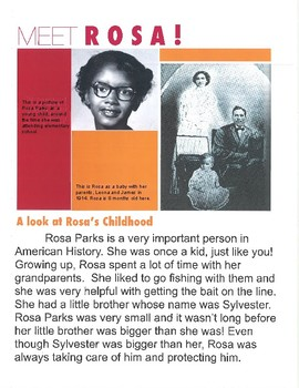Civil Rights Children's Book about Rosa Parks and other Influenctial Members