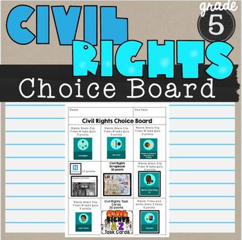 Civil Rights Choice Board SS6H6 Unit Activities