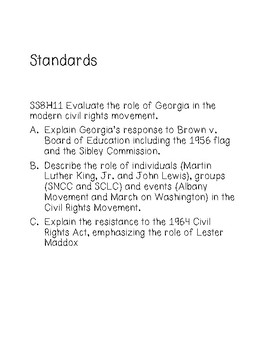 Civil Rights Choice Board (SS8H11)