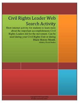Civil Rights- Civil Rights Leader Web Search Activity
