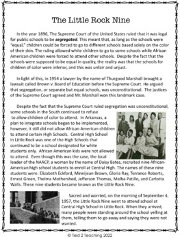 Black History Close Reading  - The Little Rock Nine