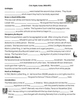 Civil Rights Cloze Notes