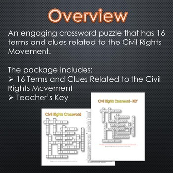 Civil Rights Crossword Puzzle and Key (16 Terms and Clues)