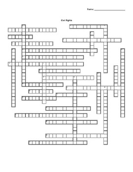 Civil Rights Crossword for American Government