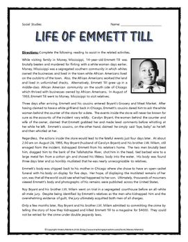 Civil Rights - Death of Emmett Till (Reading, Song Analysis, Assignment, etc.)