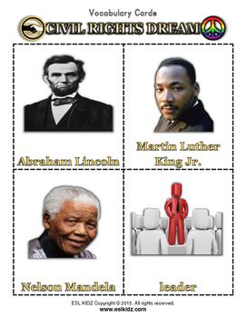 Civil Rights Dream Bingo / Matching Game w/ flashcards