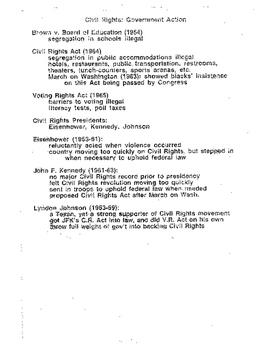 Civil Rights Era: Ed, Key Figures & Tactics, Gov Actions, Black power, Chicano