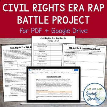 Civil Rights Era Project: Rap Battle (Compatible with Google Drive)
