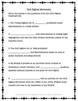 African American History Civil Rights Flashcards Comprehension and Tasks