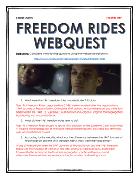 Civil Rights - Freedom Rides - Webquest with Key