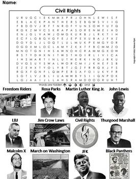 Civil Rights Heroes Worksheet/ Word Search (Black History Month Unit)
