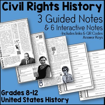 Civil Rights History Interactive Notes Bundle (Brown v Board - Little Rock)