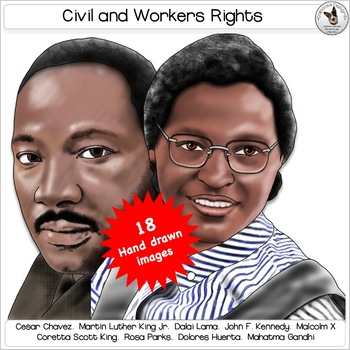 Civil Rights, Human Rights and Workers Rights Leaders Clip Art Portraits