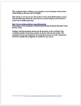 Civil Rights: Jackie Robinson Baseball and Racism Primary Source Worksheet