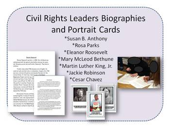 Civil Rights Leader Biographies and Portrait Cards
