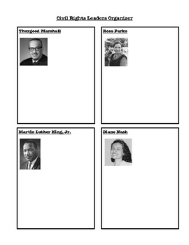Civil Rights Leaders Graphic Organizer - Tennessee 5th Grade Standard 5.24