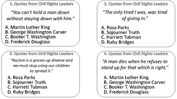 Civil Rights Leaders Quotes Match Up Task Cards