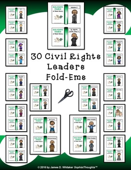Civil Rights Leaders of Black History Mini Fold-Ems and Activities