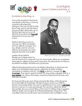 Civil Rights Lesson 7 - Martin Luther King, Jr.
