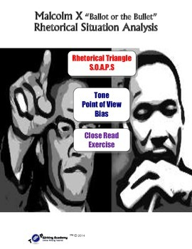Black History Month Malcolm X:Rhetorical Situation, Tone,Viewpoint, Close Read
