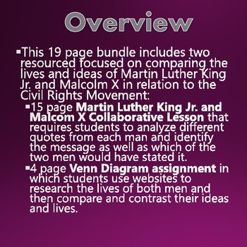 Civil Rights - Martin Luther King and Malcolm X Comparative Bundle