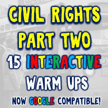 Civil Rights Movement 15 Bellringers Warm Ups - DBQ - Part Two