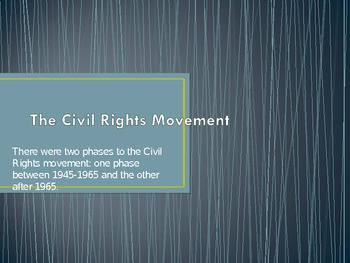 Civil Rights Movement 1945-1960's