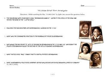 Civil Rights Movement  - 4 Little Girls Film Analysis Questions