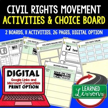US History Civil Rights Movement Activities Choice Board, Digital, Google