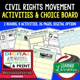 US History Civil Rights Movement Activities Choice Board,