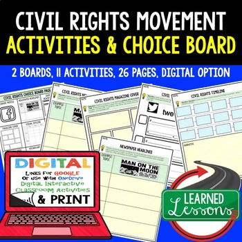 US History Civil Rights Movement Choice Board Activities w