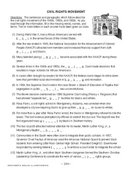 Civil Rights Movement, AMERICAN GOVERNMENT LESSON 24 of 105, Activity+Quiz