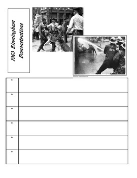 Civil Rights Movement Activity Template Pages