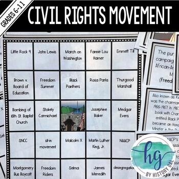 Civil Rights Movement Bingo