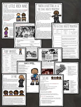 Civil Rights Movement Bundle- Slideshow, Reading Comprehension, Test, Project