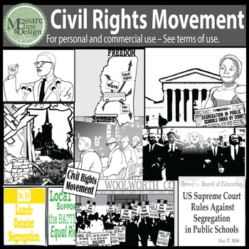 Civil Rights Movement Clip Art with MLK Jr, Malcolm X {Messare Clips and Design}