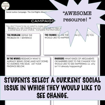 Civil Rights Project 4 Today Empower your students UPDATED WITH  EDITABLE RUBRIC