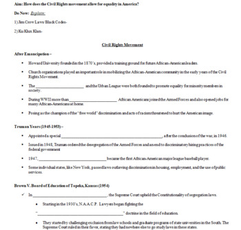 Civil Rights Movement Court Cases Powerpoint and Worksheet