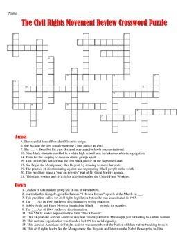 Civil Rights Movement Crossword Puzzle