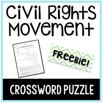 Civil Rights Movement Crossword Puzzle Freebie