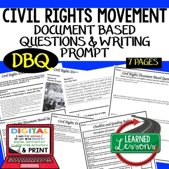 Civil Rights Movement Document Based Questions DBQ (American History)
