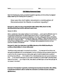 Civil Rights Movement Documents, Graphic Organizer, and Essay topic