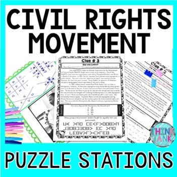 Civil Rights Movement PUZZLE STATIONS: Black History, Rosa Parks, MLK