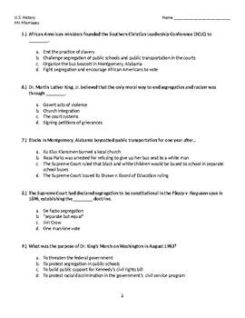 Civil Rights Movement Exam