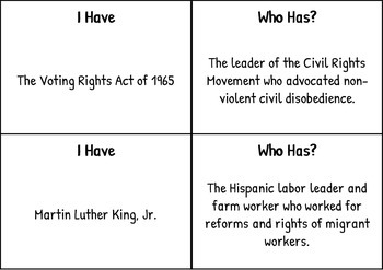 "Civil Rights Movement ""I Have, Who Has?"" Game"