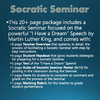 Civil Rights Movement - I Have a Dream by Martin Luther King - Socratic Seminar