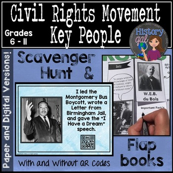 Civil Rights Movement Important People Activity {with and without QR Codes}