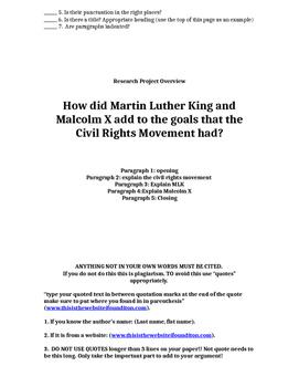Civil Rights Movement Internet Reseach Project 5-paragraph paper