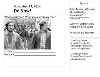 Civil Rights Movement Intro Unit ELA/ESL