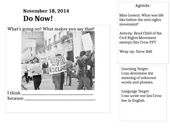 Civil Rights Movement Intro Unit ELA/ESL
